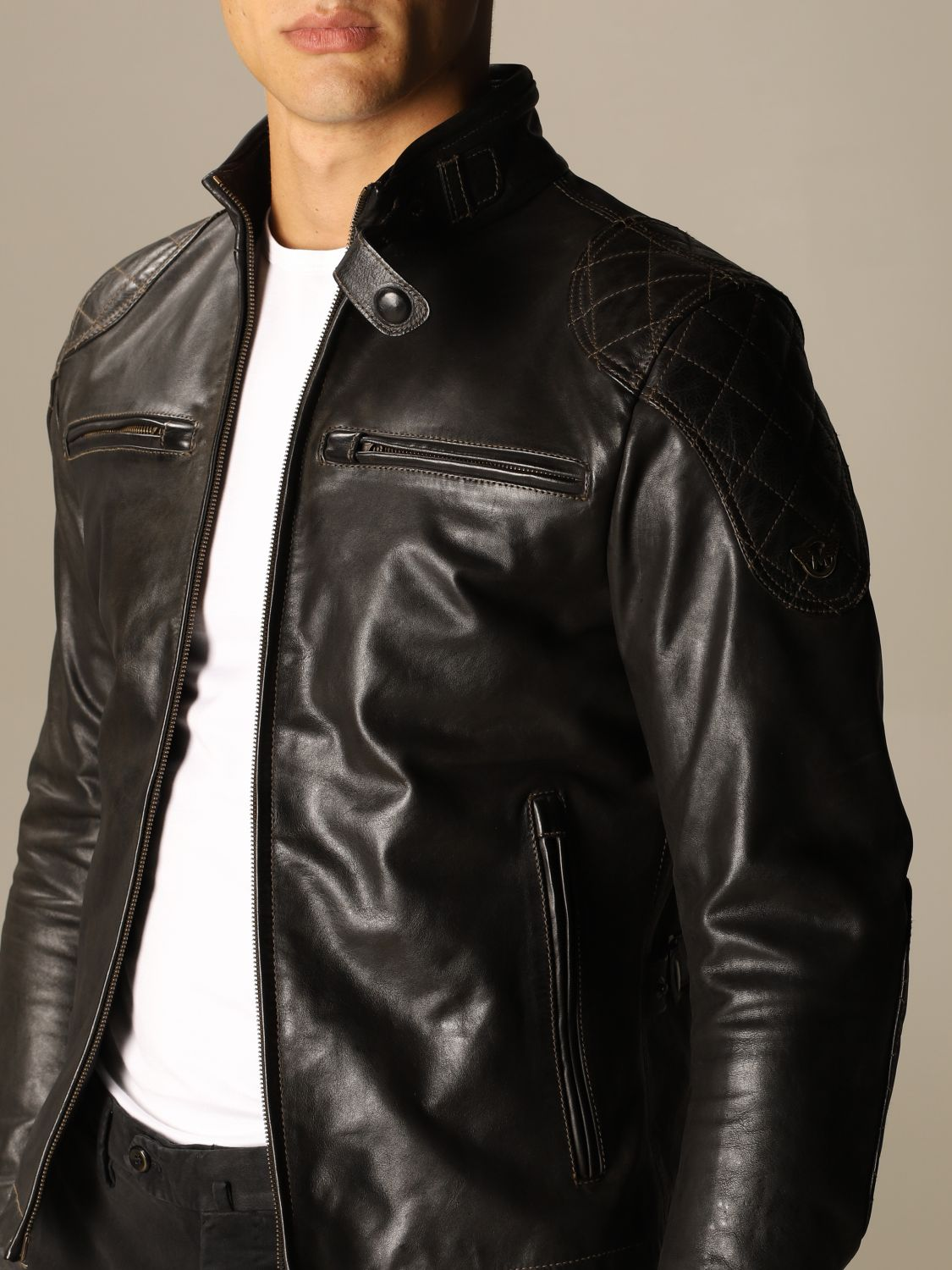 Giacca Matchless: Osborne quilted blouson pelle nero 4