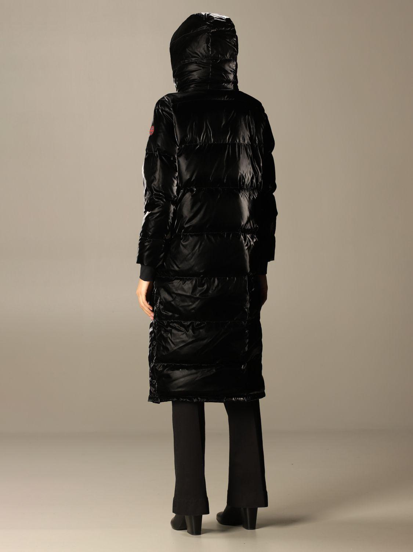 Giacca Museum: Dixie piumino lucido lungo interno trapuntato con cappuccio nero 2