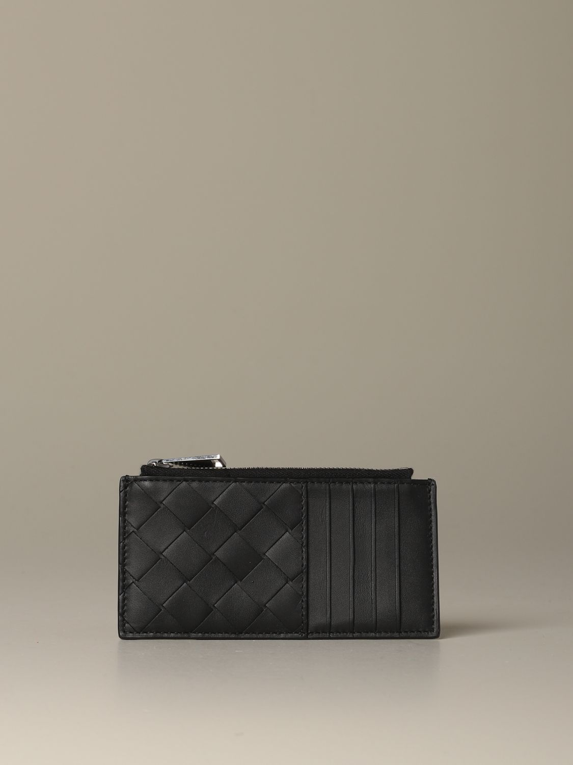 Wallet Bottega Veneta: Bottega Veneta credit card holder in woven leather 1.5 black 1