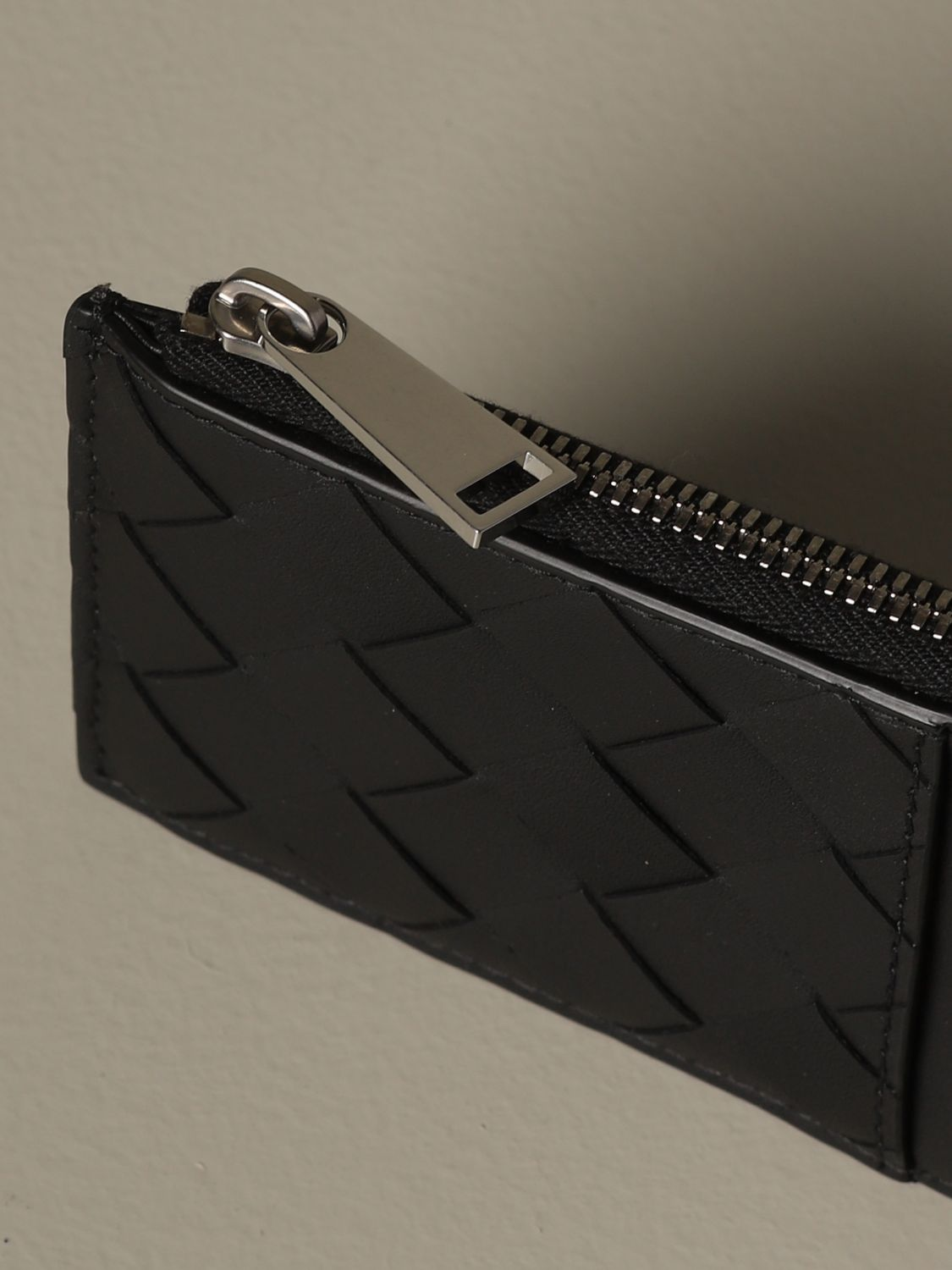 Wallet Bottega Veneta: Bottega Veneta credit card holder in woven leather 1.5 black 3