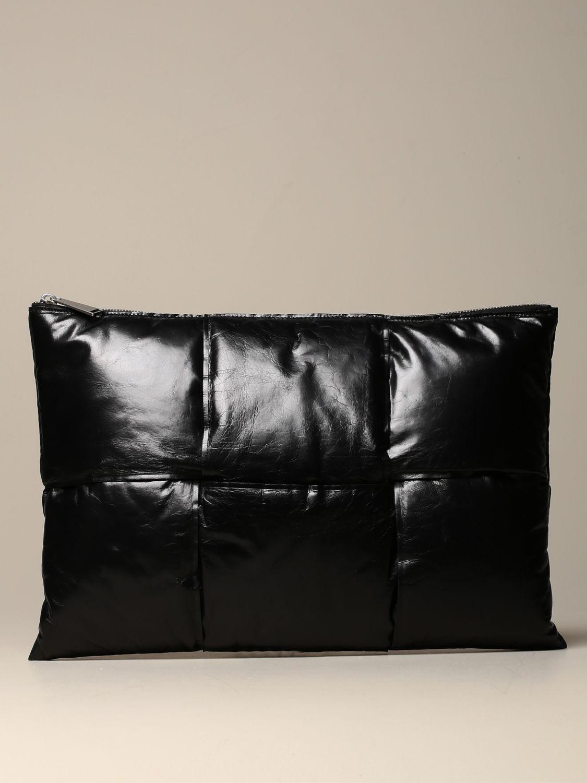 Porte-document Bottega Veneta: Pochette Padded Bottega Veneta en cuir effet papier noir 1
