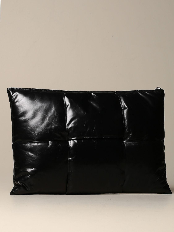 Porte-document Bottega Veneta: Pochette Padded Bottega Veneta en cuir effet papier noir 2