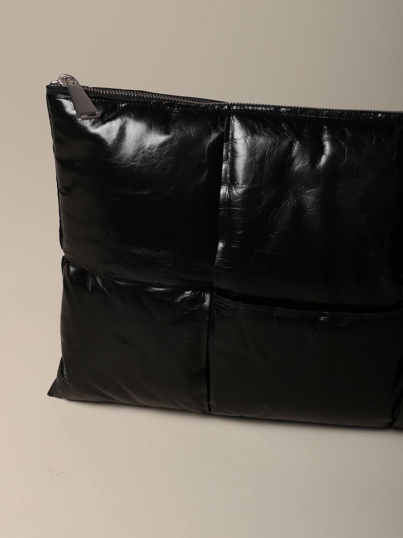 Porte-document Bottega Veneta: Pochette Padded Bottega Veneta en cuir effet papier noir 3