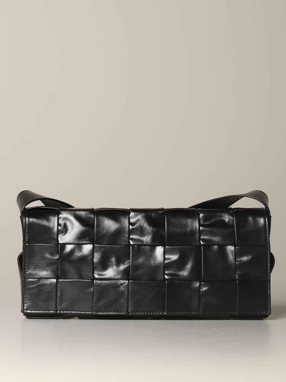 Shoulder bag Bottega Veneta: The Stretch Cassette Bottega Veneta bag in woven leather black 1