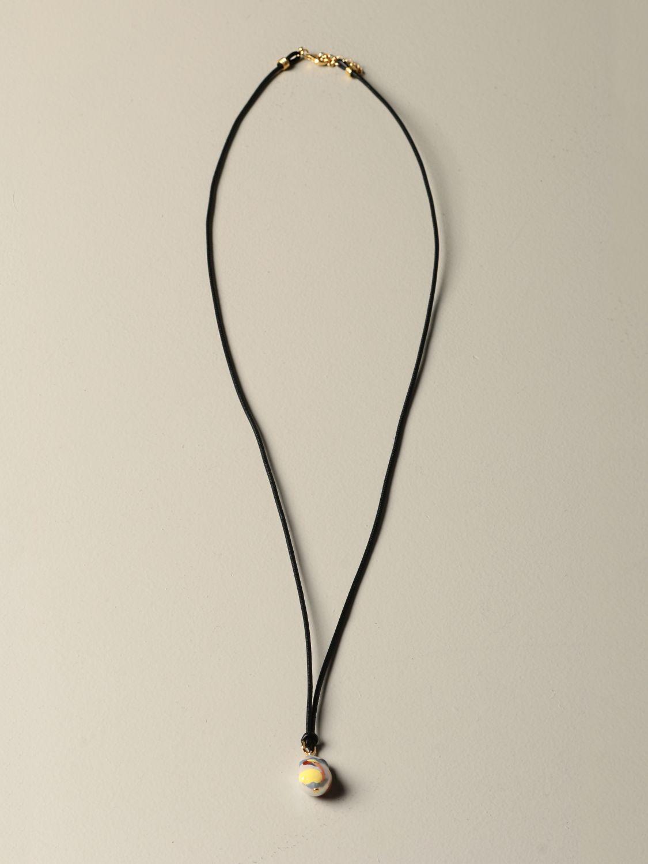 Gioielli Bottega Veneta: Collana Bottega Veneta in cuoio con perla nero 1