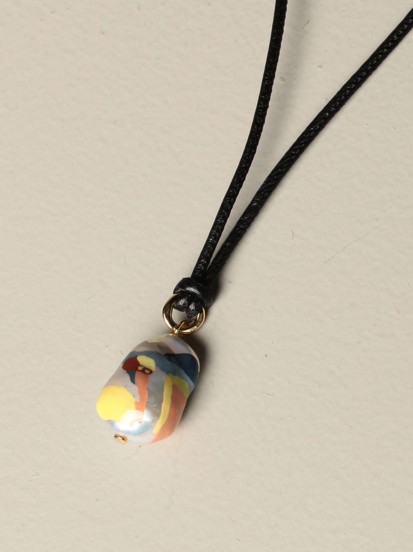 Gioielli Bottega Veneta: Collana Bottega Veneta in cuoio con perla nero 2