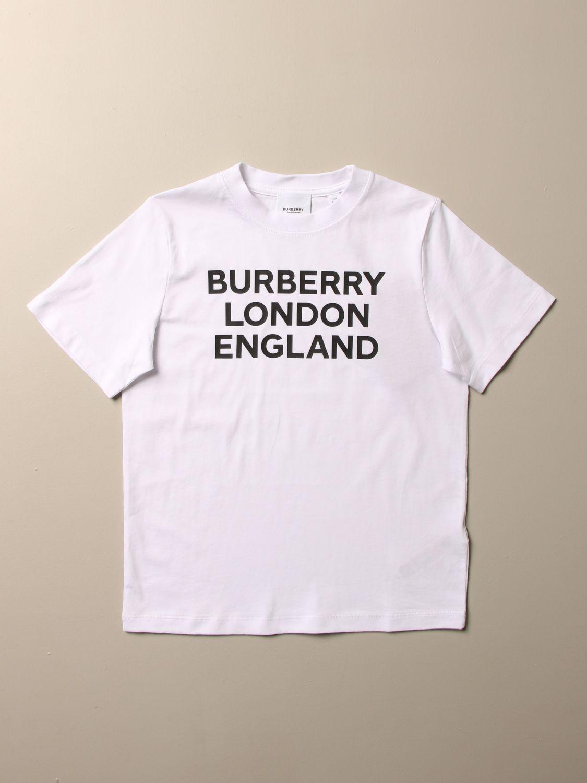 T-shirt Burberry: T-shirt Burberry in cotone con logo bianco 1