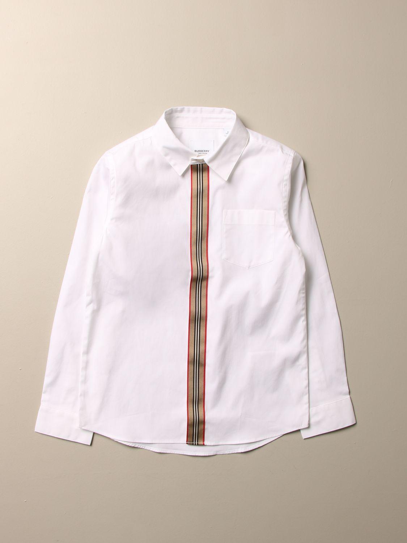 Camicia Burberry: Camicia Burberry in cotone stretch con paramontura a righe bianco 1