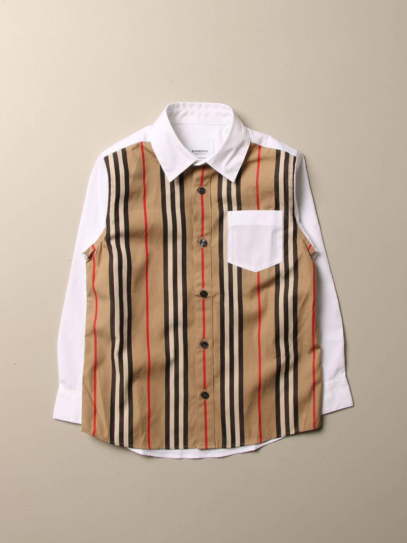 Camicia Burberry: Camicia Burberry in cotone stretch con motivo a righe bianco 1