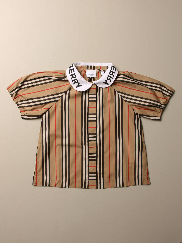 Camicia Burberry: Camicia Burberry in cotone a righe beige 1
