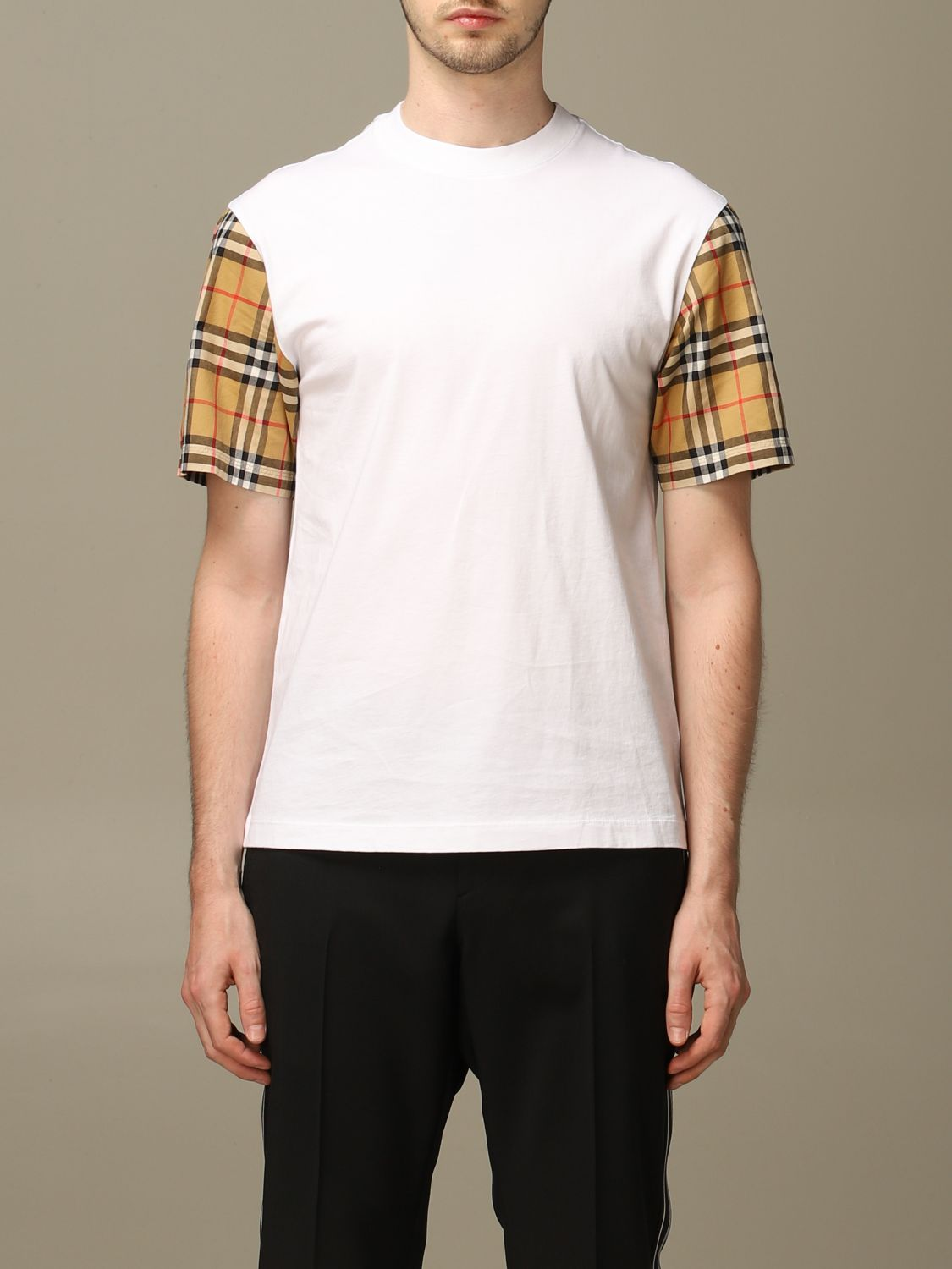 T-shirt Burberry: Burberry stretch cotton T-shirt with check sleeves white 1