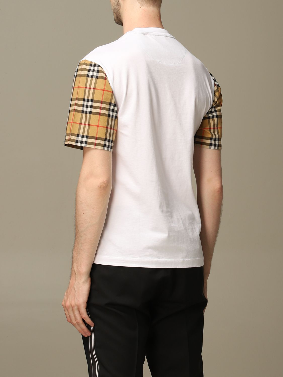 T-shirt Burberry: Burberry stretch cotton T-shirt with check sleeves white 2