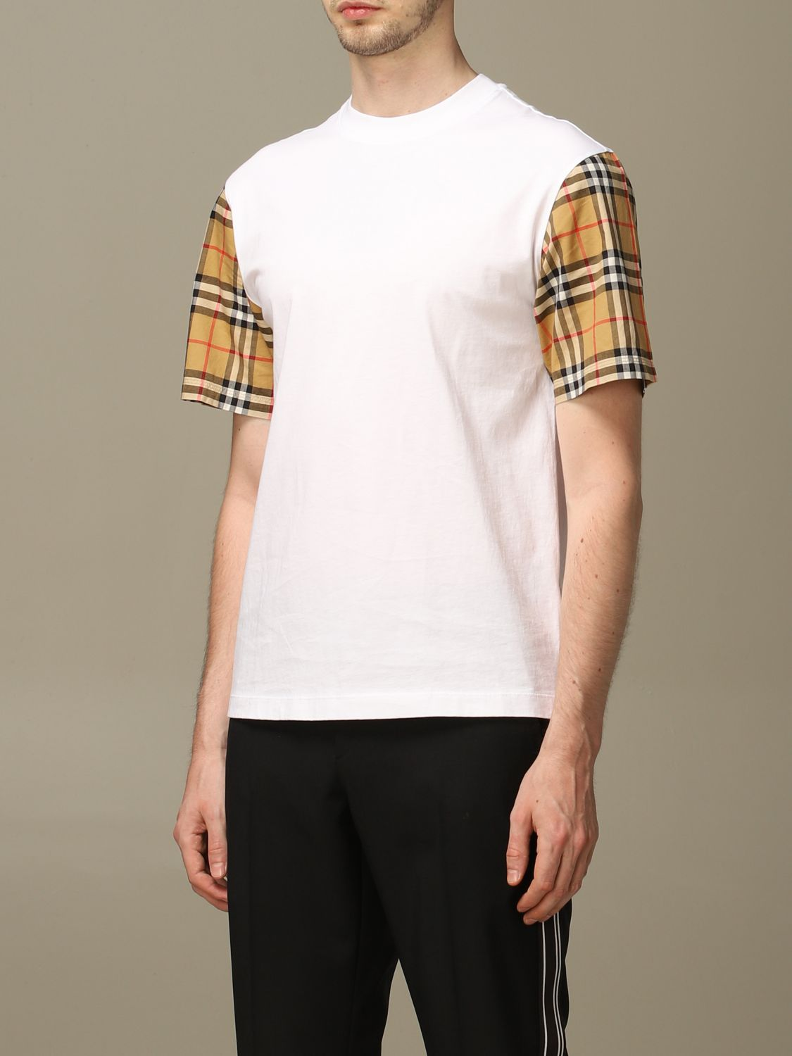 T-shirt Burberry: Burberry stretch cotton T-shirt with check sleeves white 3