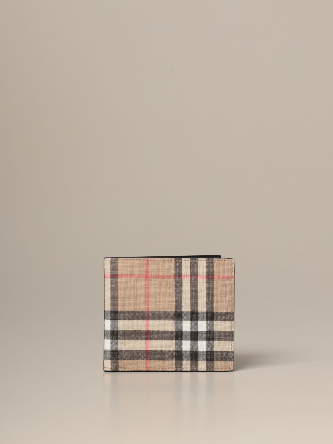 Wallet Burberry: Burberry wallet in e-canvas with vintage check pattern beige 1