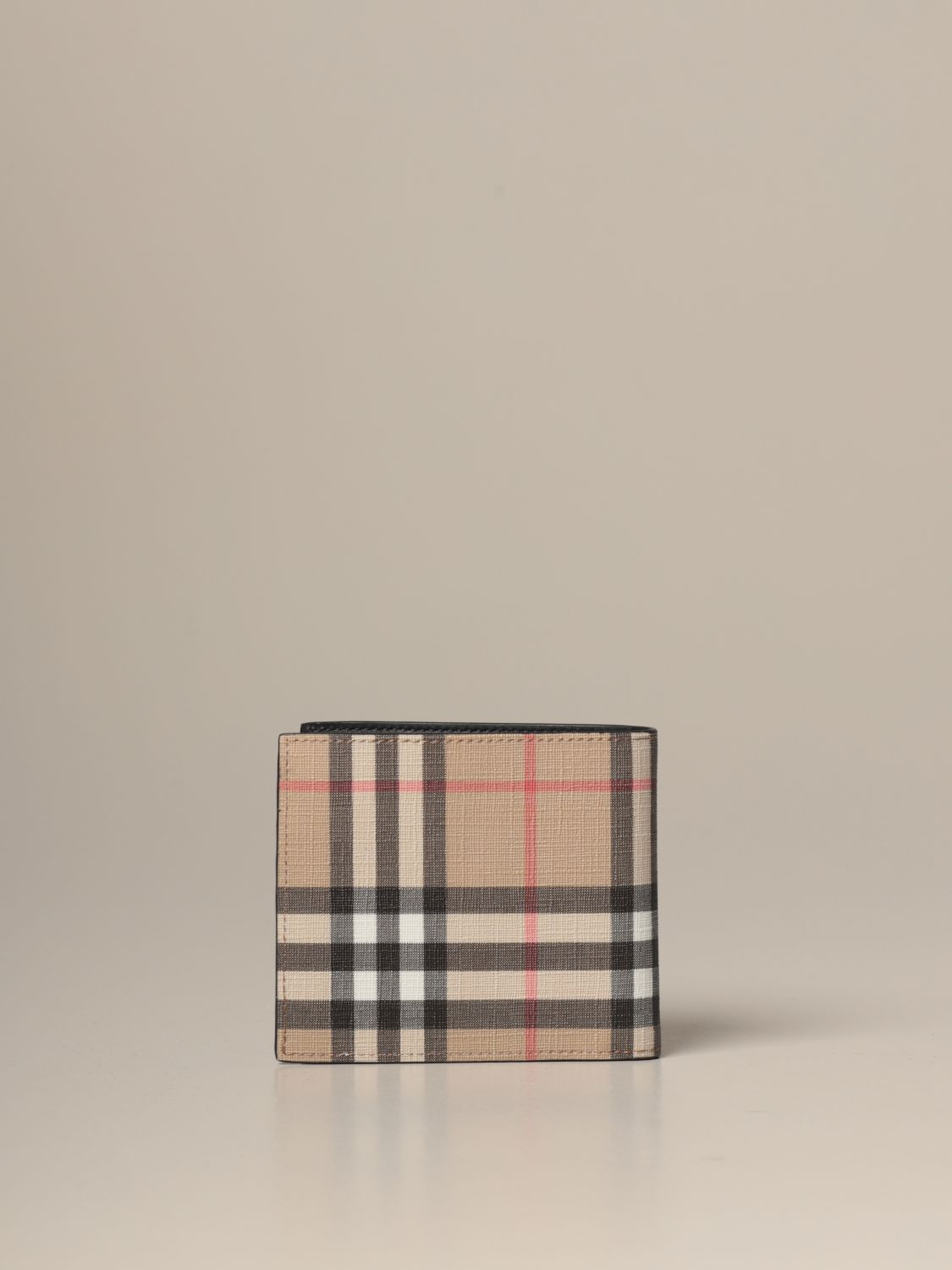 Wallet Burberry: Burberry wallet in e-canvas with vintage check pattern beige 3