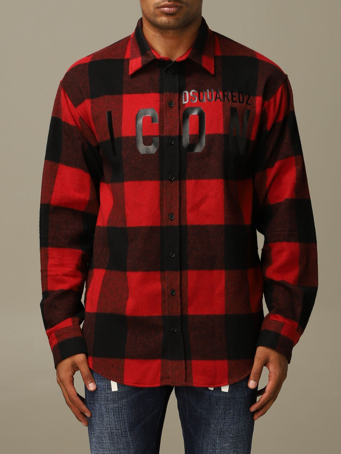 Shirt Dsquared2: Icon Dsquared2 shirt in stretch check flannel with logo red 1