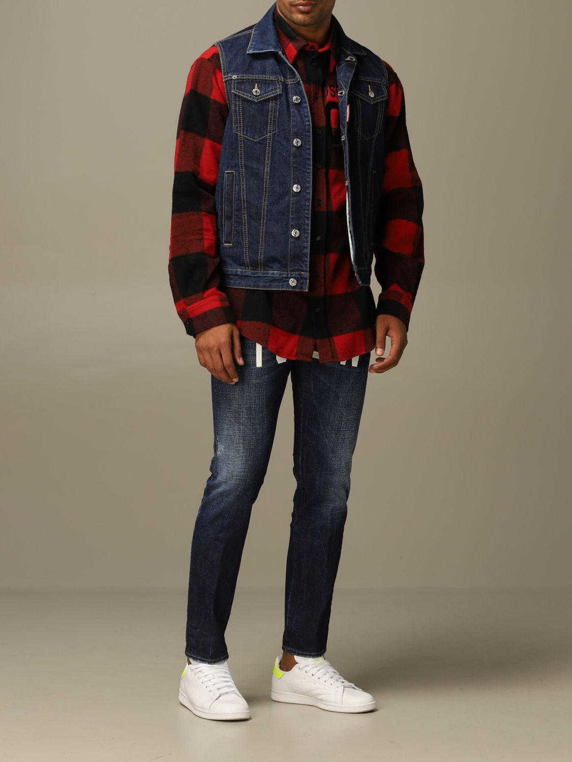 Shirt Dsquared2: Icon Dsquared2 shirt in stretch check flannel with logo red 2