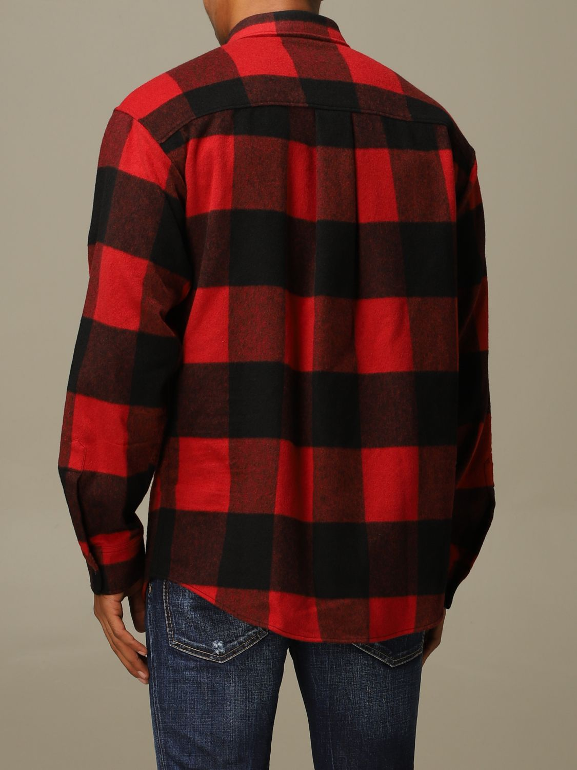 Shirt Dsquared2: Icon Dsquared2 shirt in stretch check flannel with logo red 3