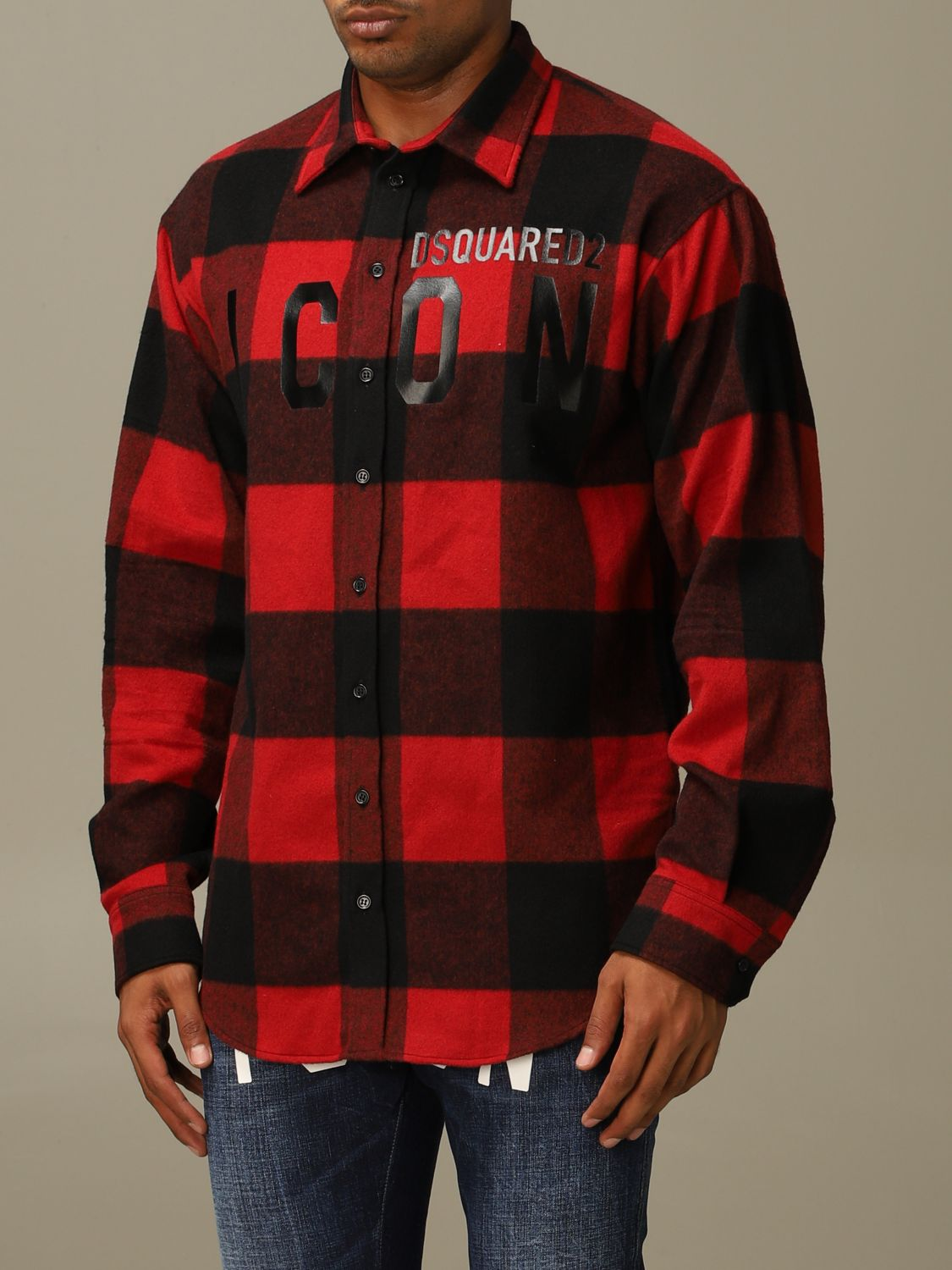 Shirt Dsquared2: Icon Dsquared2 shirt in stretch check flannel with logo red 4