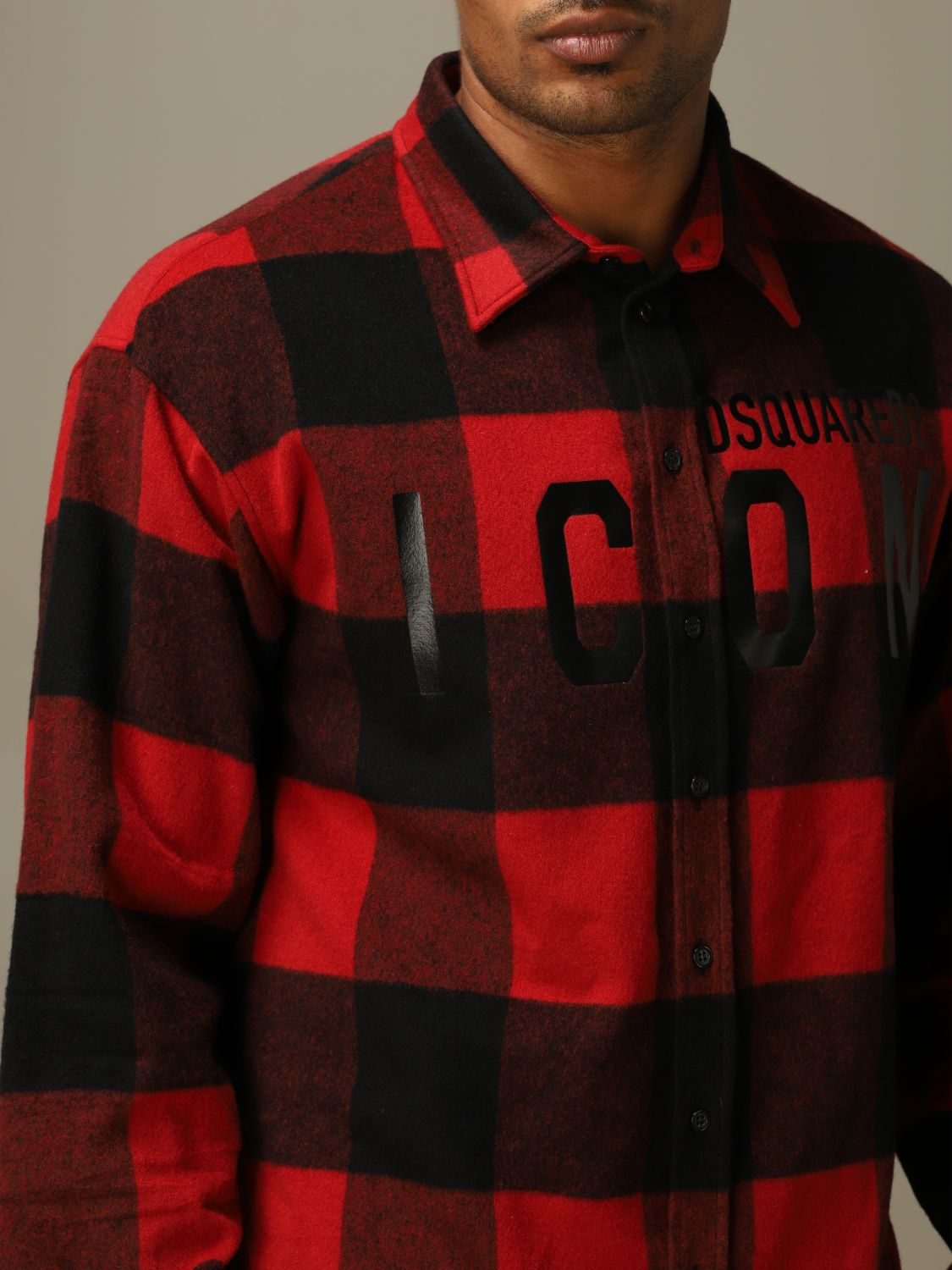 Shirt Dsquared2: Icon Dsquared2 shirt in stretch check flannel with logo red 5