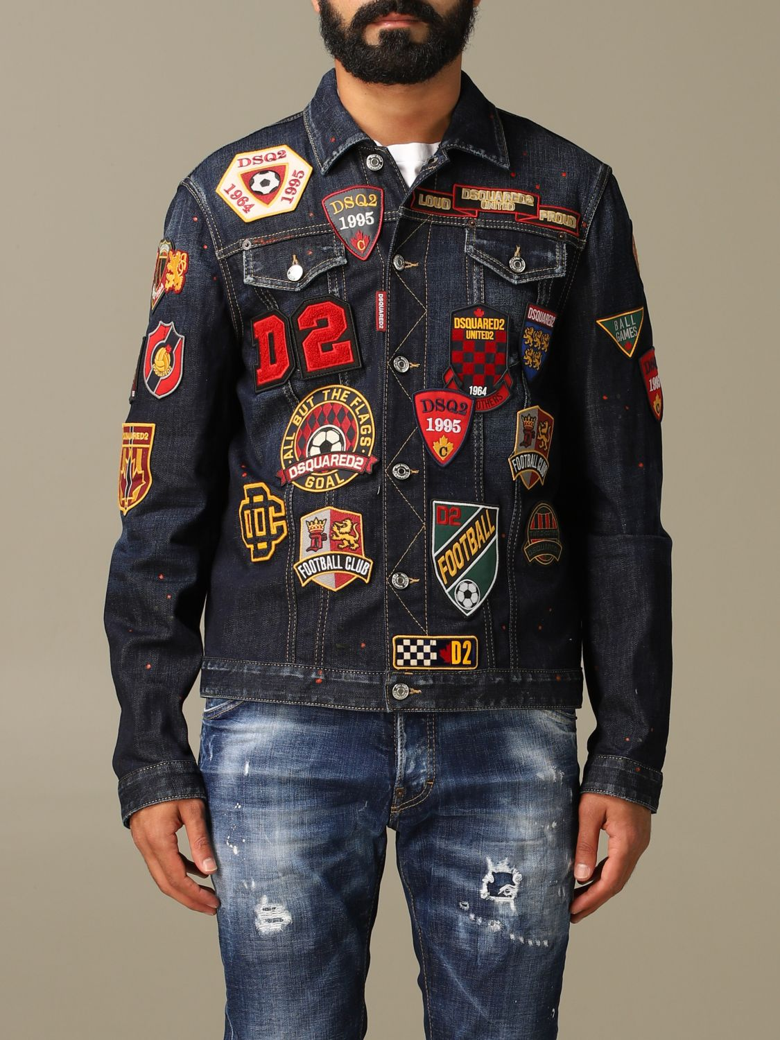 Jacket Dsquared2: Dsquared2 denim jacket in used denim with patches denim 1
