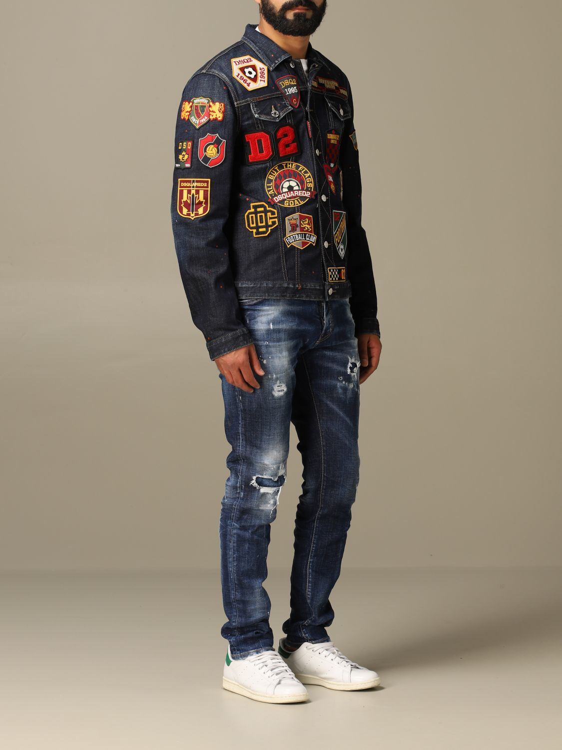 Jacket Dsquared2: Dsquared2 denim jacket in used denim with patches denim 2