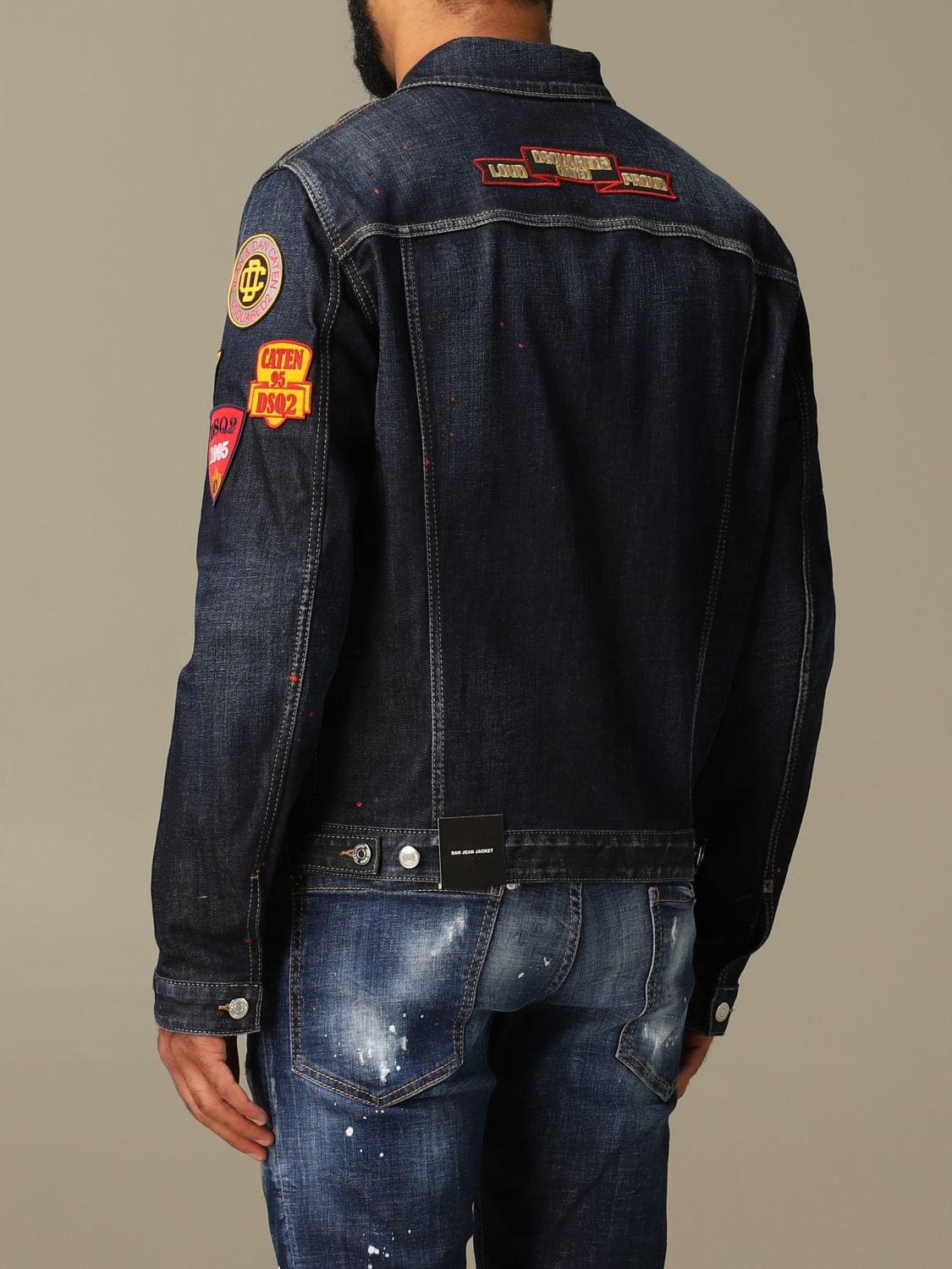 Jacket Dsquared2: Dsquared2 denim jacket in used denim with patches denim 3