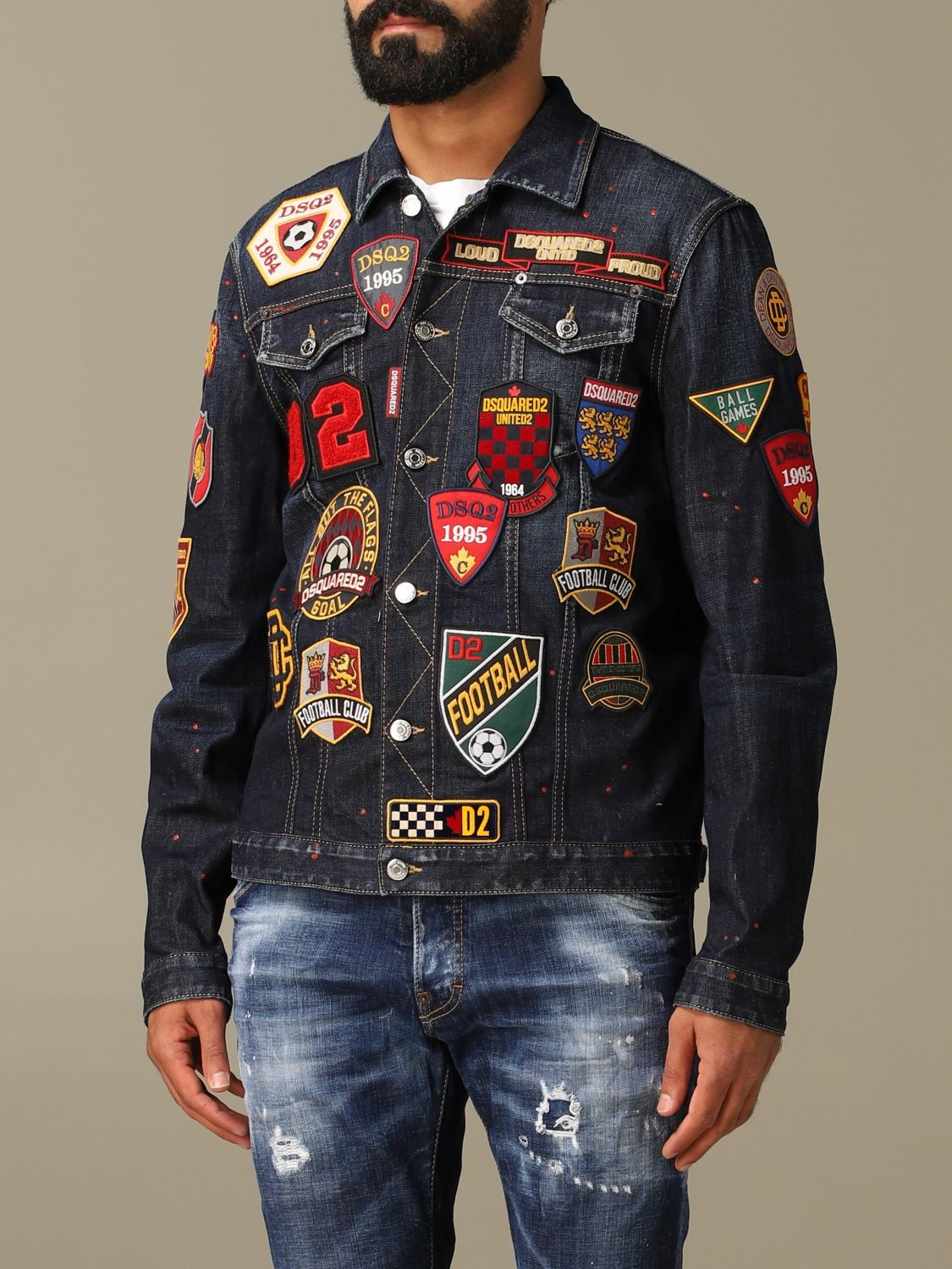 Jacket Dsquared2: Dsquared2 denim jacket in used denim with patches denim 4