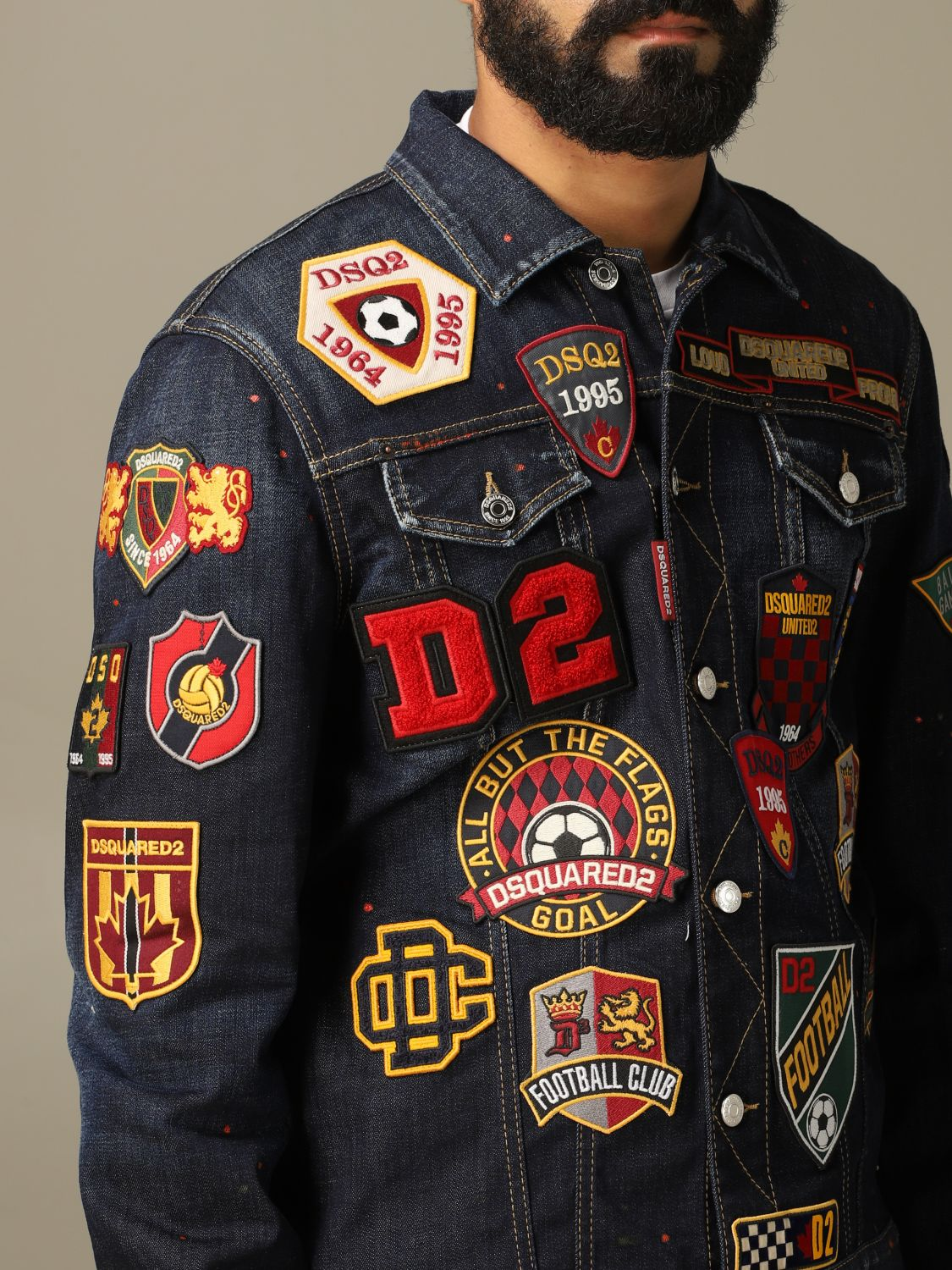 Jacket Dsquared2: Dsquared2 denim jacket in used denim with patches denim 5