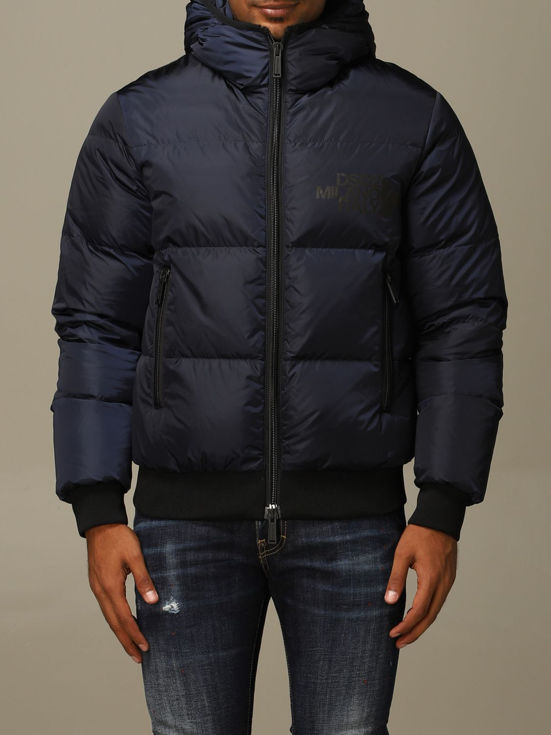 Jacket Dsquared2: Dsquared2 down jacket with hood and logo green 1