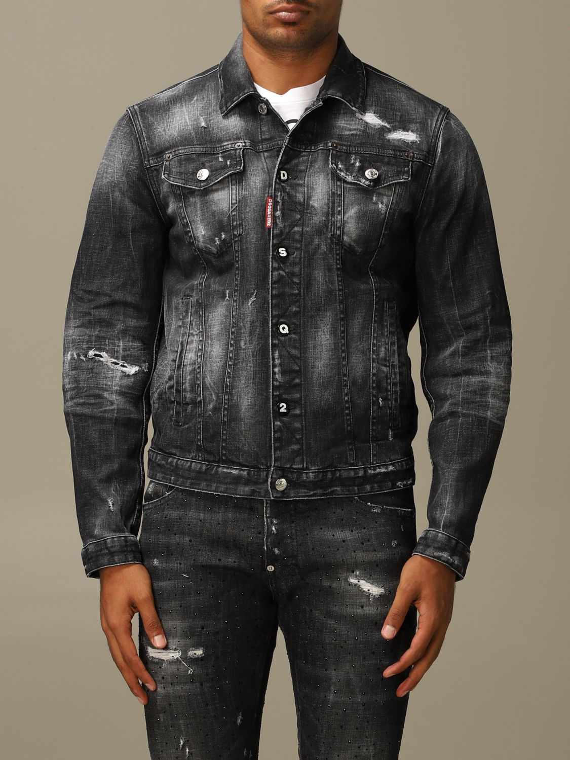 Jacket Dsquared2: Dsquared2 denim jacket in used denim with breaks black 1