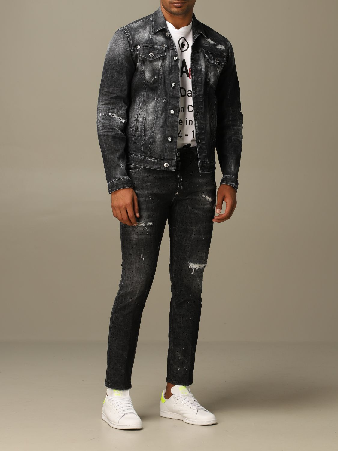 Jacket Dsquared2: Dsquared2 denim jacket in used denim with breaks black 2