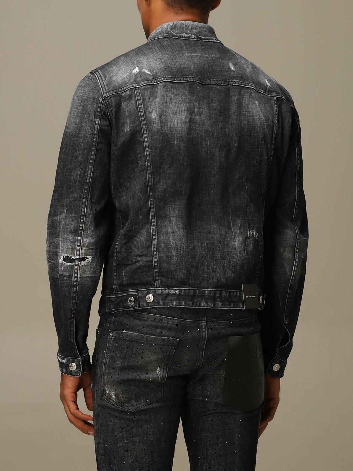 Jacket Dsquared2: Dsquared2 denim jacket in used denim with breaks black 3
