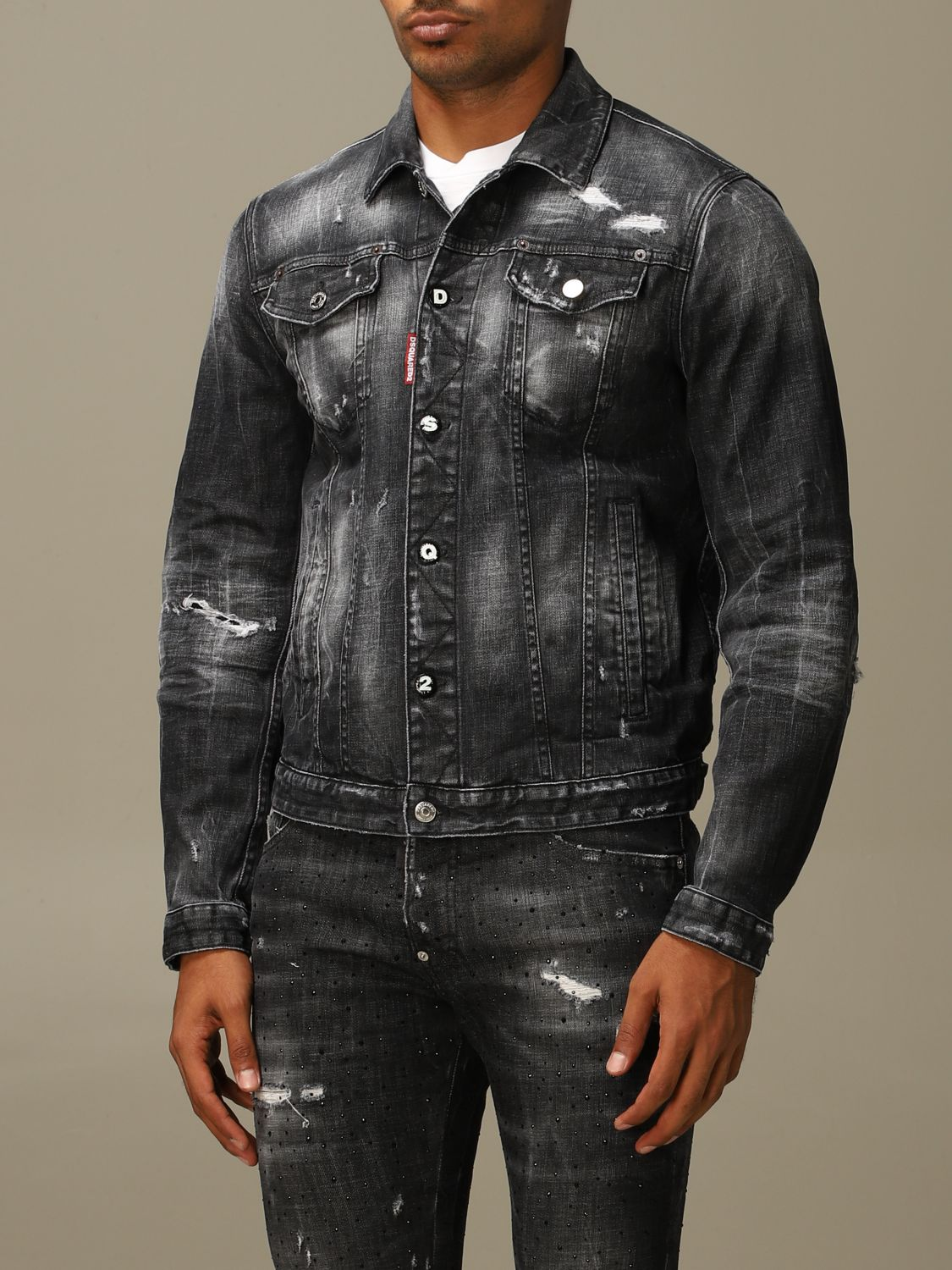 Jacket Dsquared2: Dsquared2 denim jacket in used denim with breaks black 4