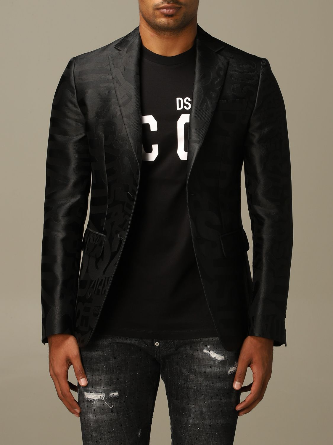 Blazer Dsquared2: Dsquared2 tuxedo jacket in silk blend with all over jacquard logo black 1
