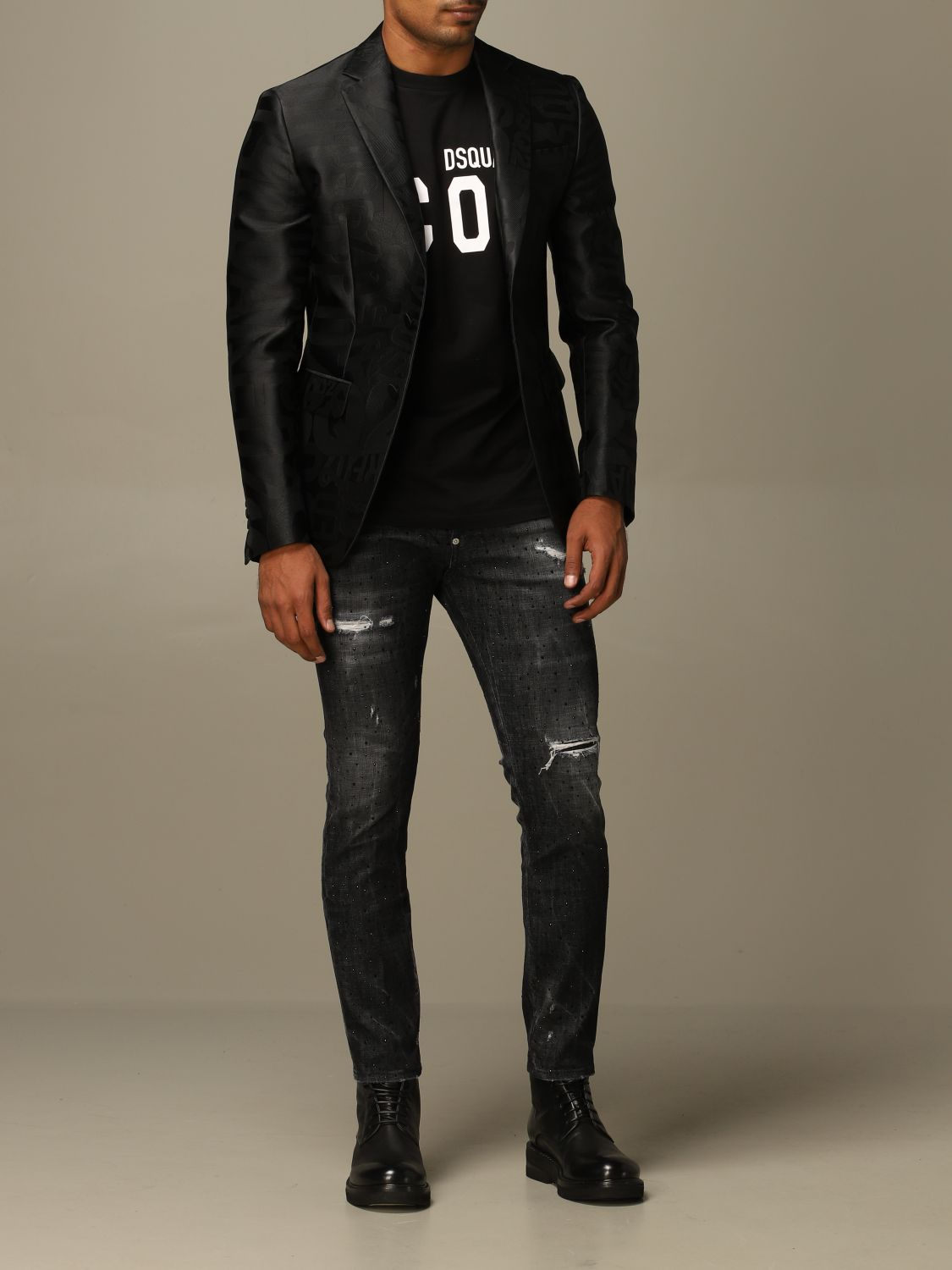 Blazer Dsquared2: Dsquared2 tuxedo jacket in silk blend with all over jacquard logo black 2