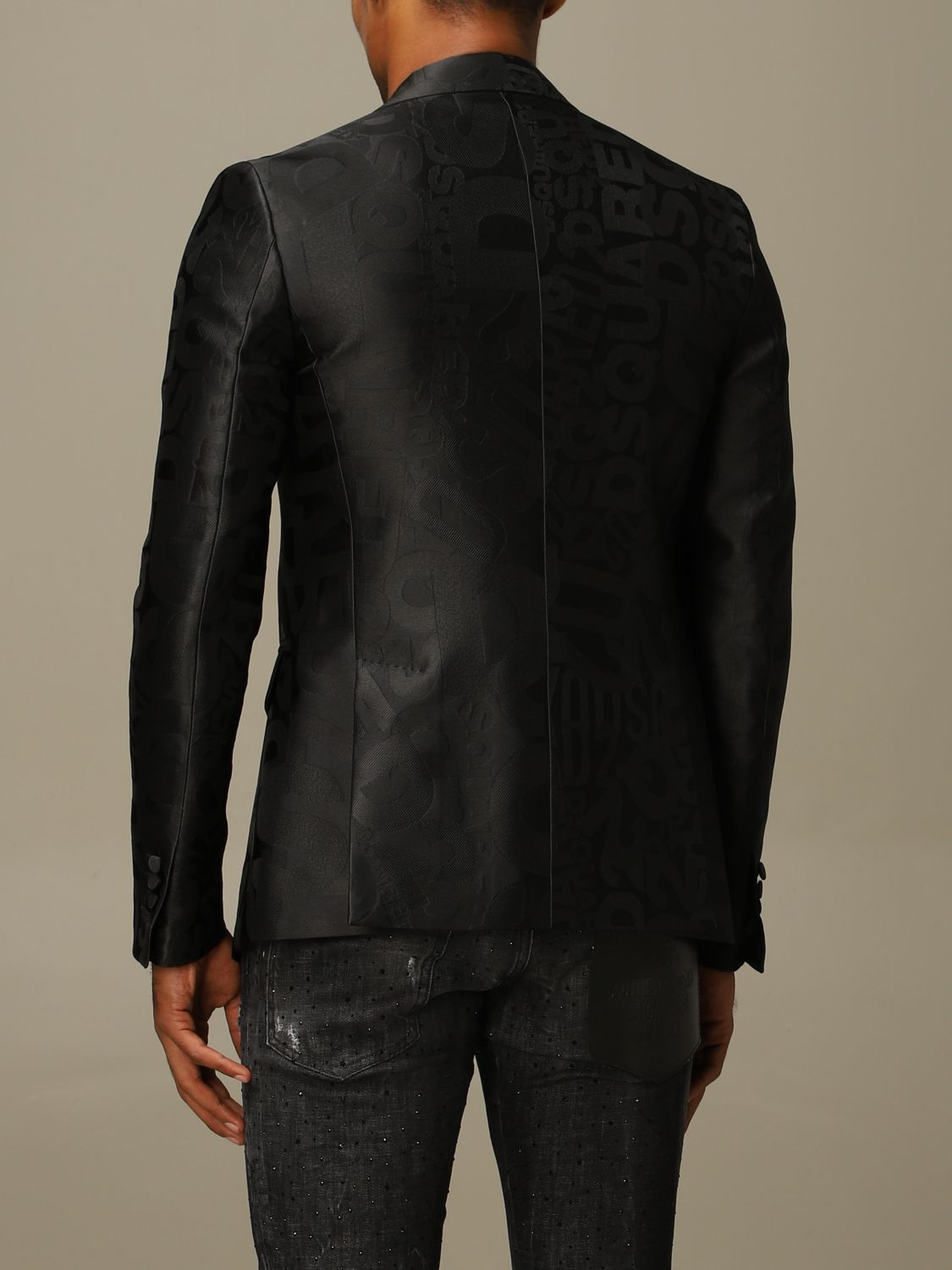 Blazer Dsquared2: Dsquared2 tuxedo jacket in silk blend with all over jacquard logo black 3