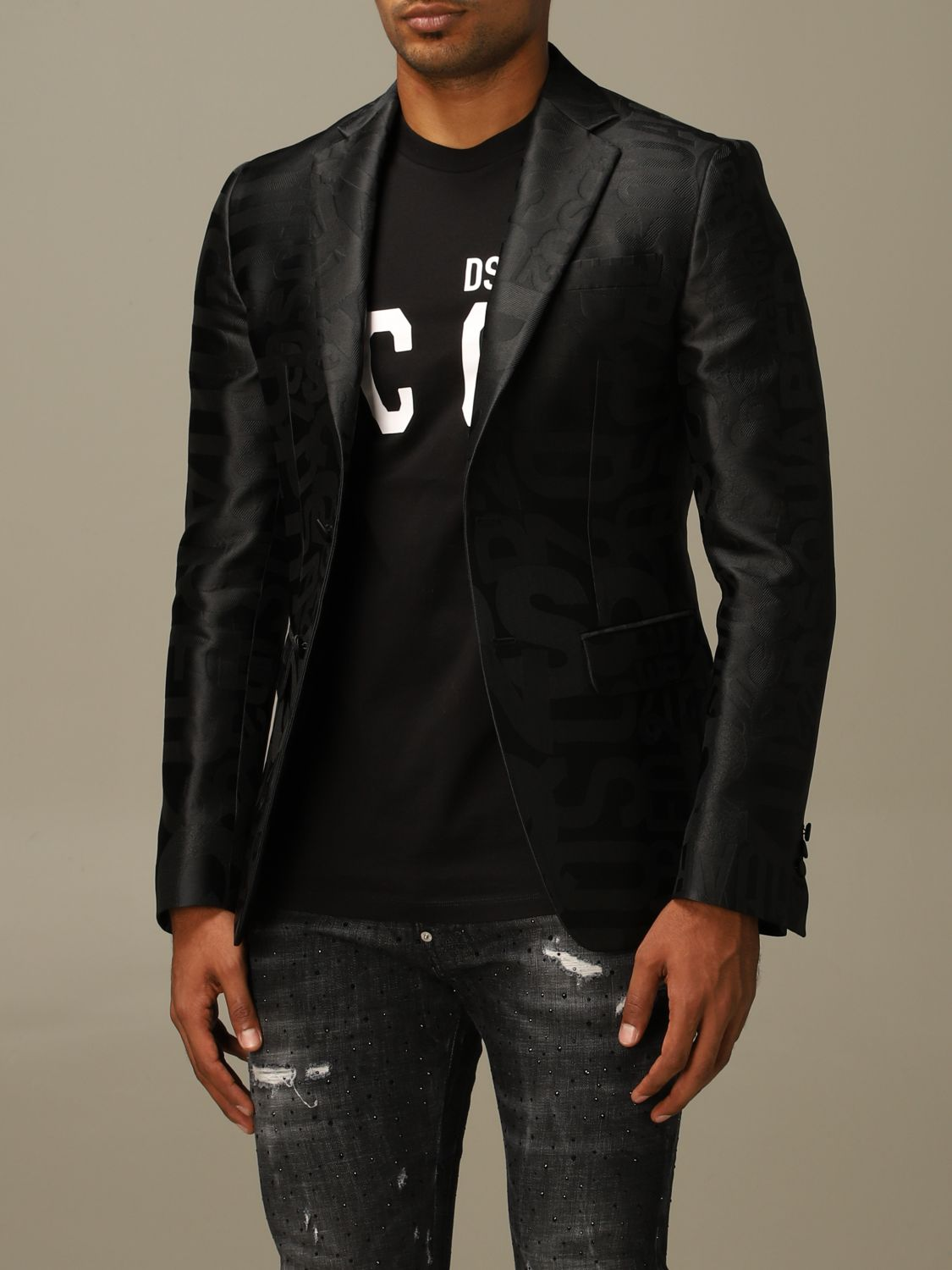 Blazer Dsquared2: Dsquared2 tuxedo jacket in silk blend with all over jacquard logo black 4