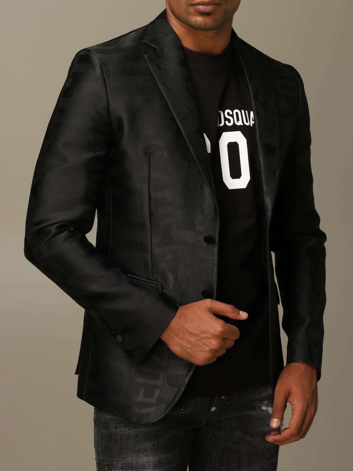 Blazer Dsquared2: Dsquared2 tuxedo jacket in silk blend with all over jacquard logo black 5