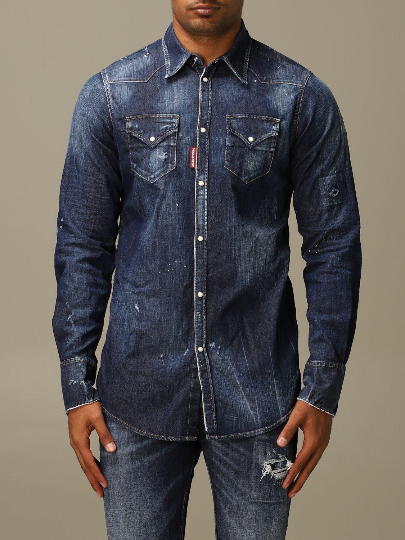 Рубашка Dsquared2: Рубашка Мужское Dsquared2 серо-бежевый 1