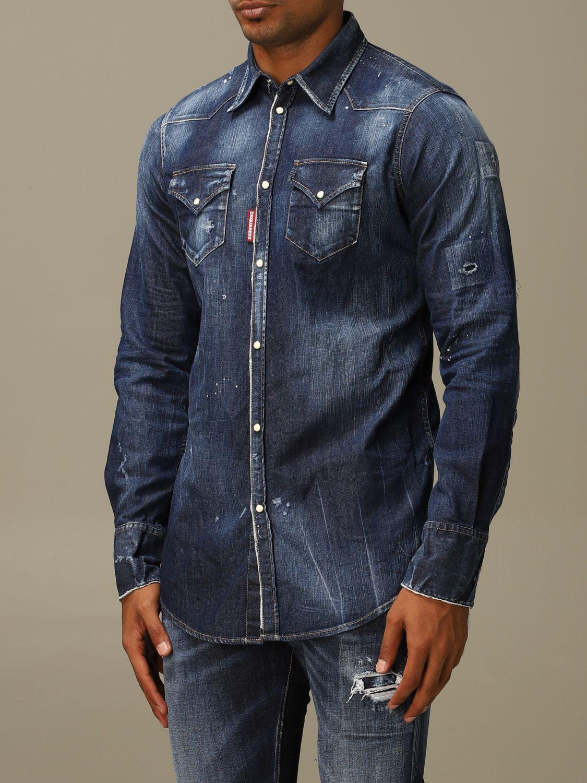 Рубашка Dsquared2: Рубашка Мужское Dsquared2 серо-бежевый 4