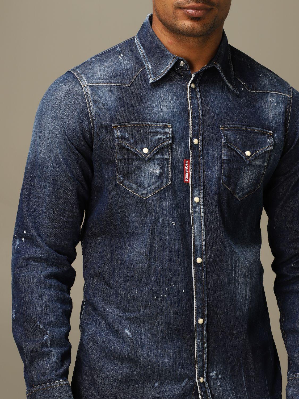 Рубашка Dsquared2: Рубашка Мужское Dsquared2 серо-бежевый 5