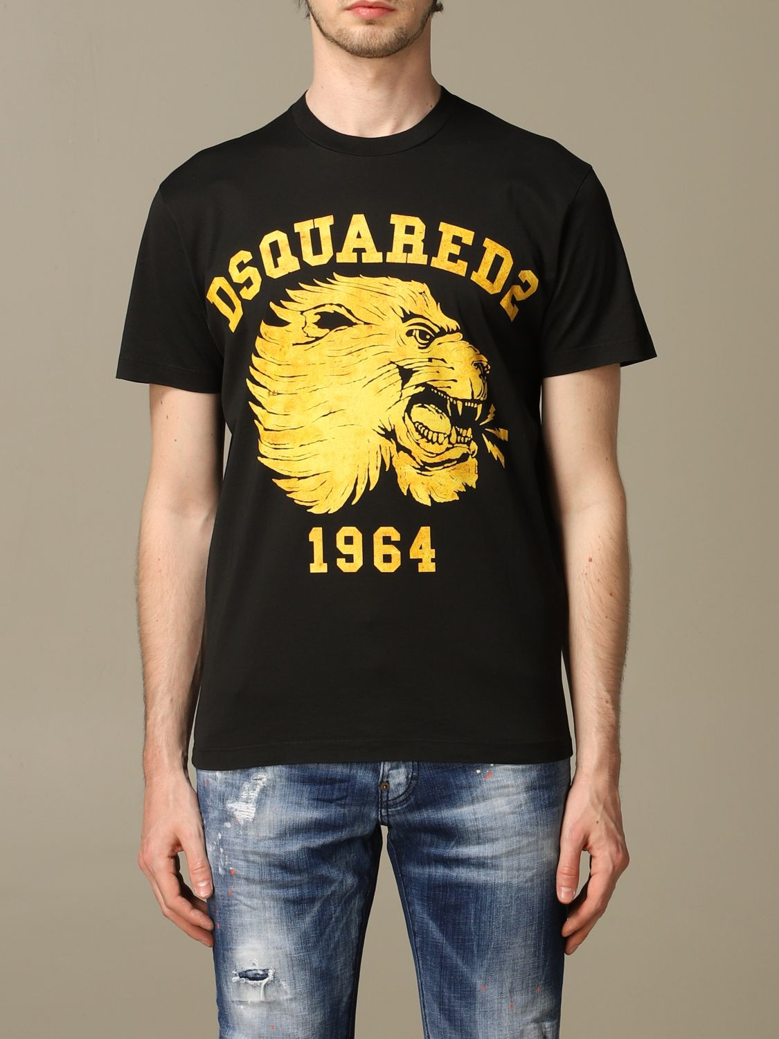 T-shirt Dsquared2: Dsquared2 crew neck t-shirt with lion print black 1