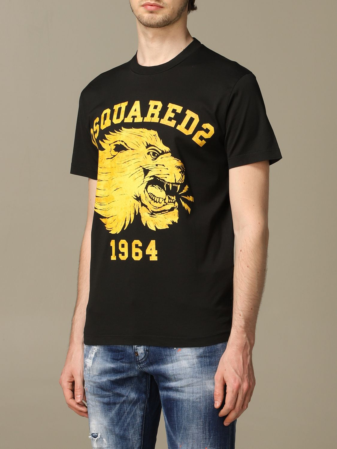 T-shirt Dsquared2: Dsquared2 crew neck t-shirt with lion print black 4