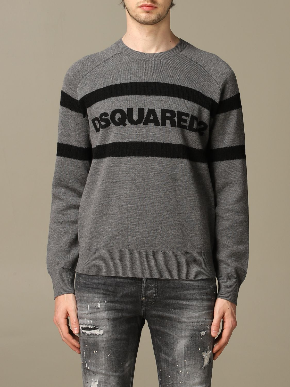 Sweater Dsquared2: Dsquared2 wool sweater with bands with logo grey 1