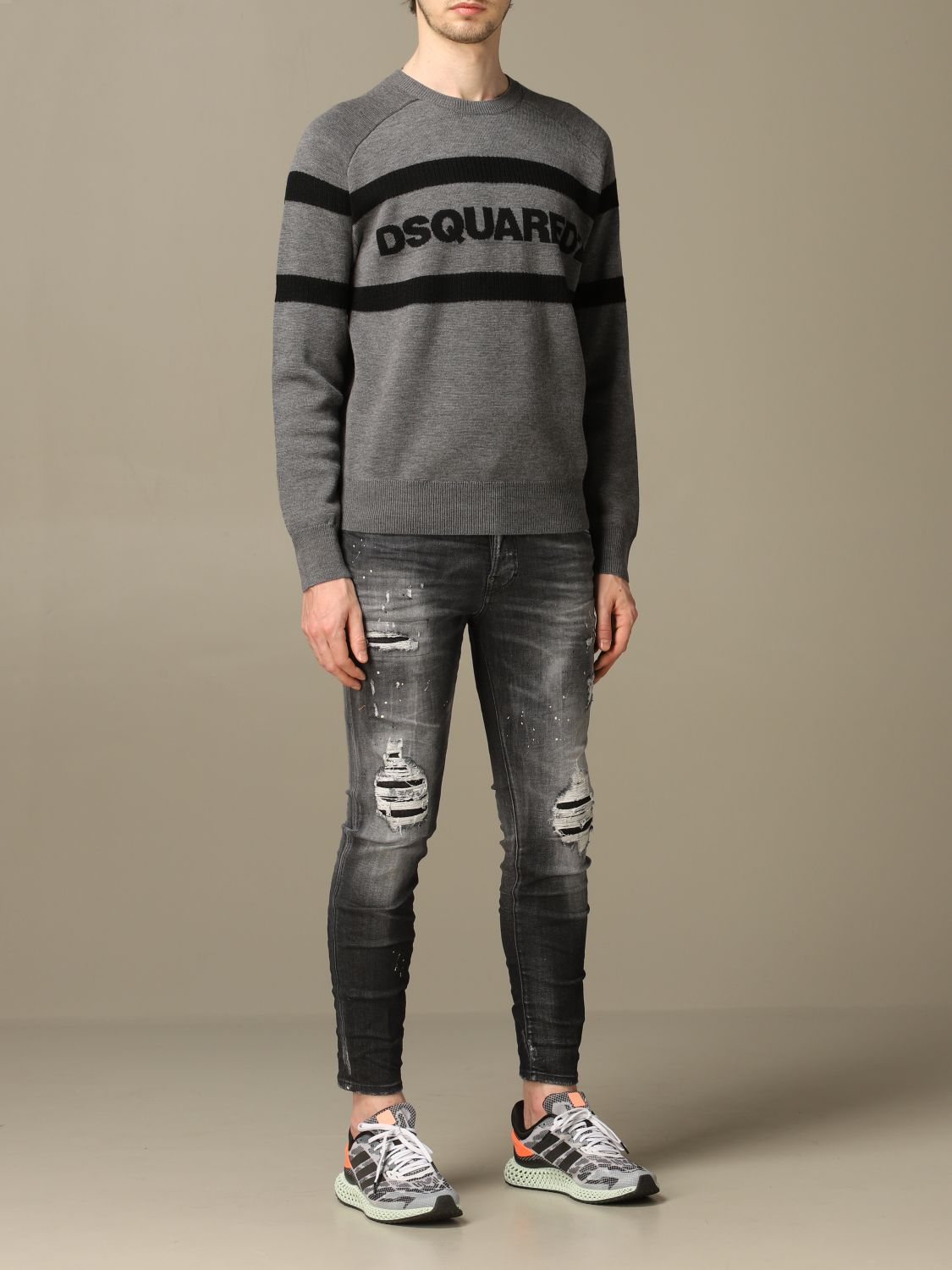 Sweater Dsquared2: Dsquared2 wool sweater with bands with logo grey 2
