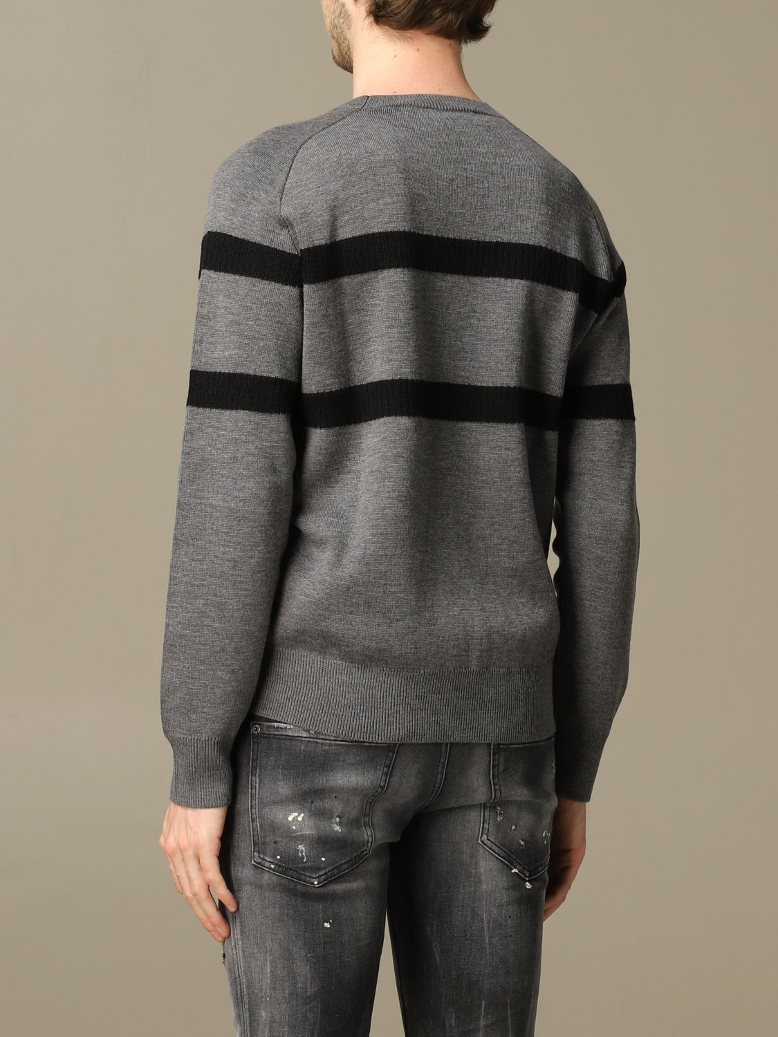 Sweater Dsquared2: Dsquared2 wool sweater with bands with logo grey 3