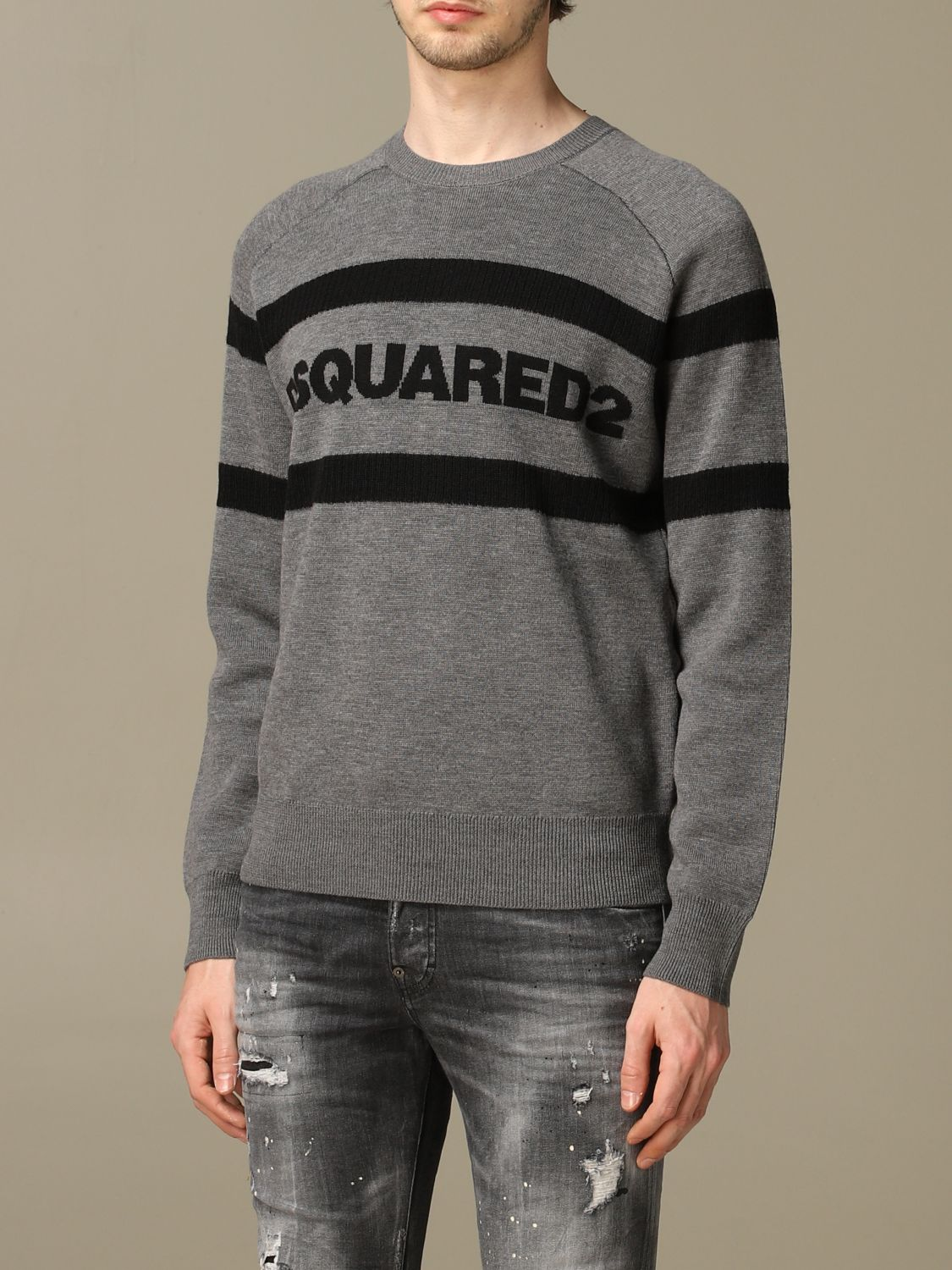 Sweater Dsquared2: Dsquared2 wool sweater with bands with logo grey 4