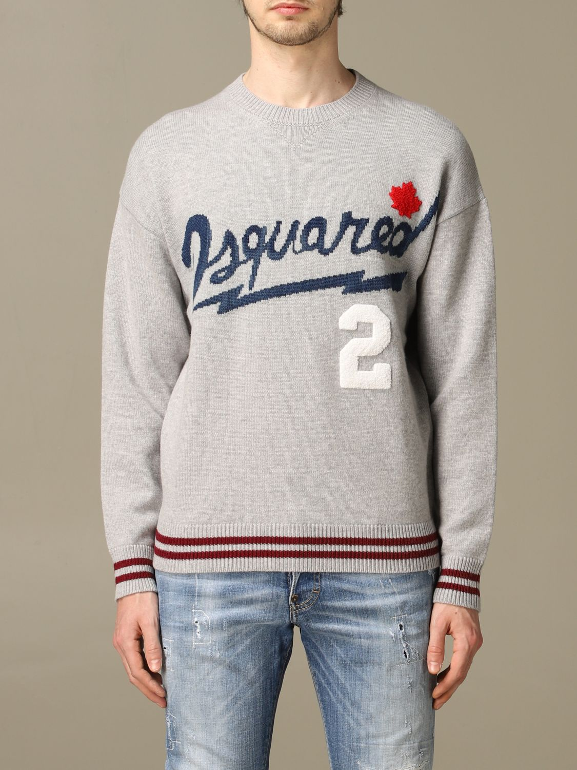 Sweater Dsquared2: Dsquared2 pullover with jacquard logo grey 1