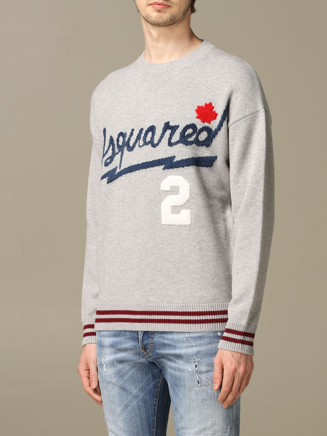 Sweater Dsquared2: Dsquared2 pullover with jacquard logo grey 4